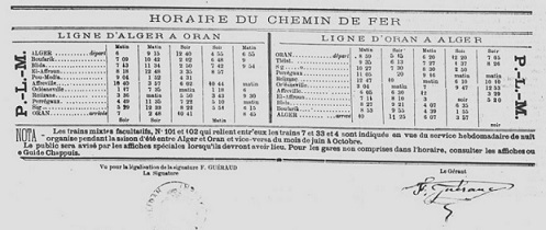 horaire du train blida alger en 1885